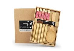 优质楠竹筷子(五筷一勺)-小花布