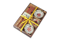 优质楠竹筷子+陶瓷餐具-红花