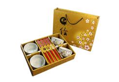 优质楠竹筷子+陶瓷餐具(四碗四筷)-小金花