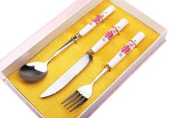韩式陶瓷刀叉勺三件套  型号:MR - 1407