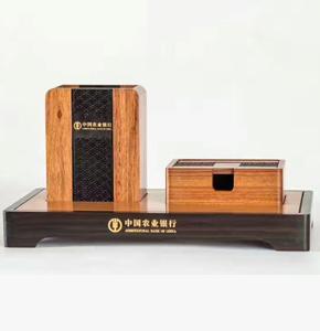 房地产开盘礼品-红木办公三件套-笔筒+名片盒+底座-农业银行礼品定制