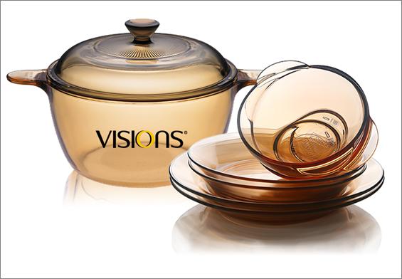 房地产交房礼品--康宁晶彩透明锅+餐具套装