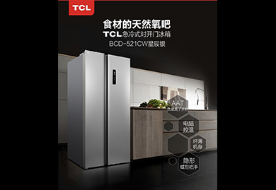 房地产营销礼品,交房礼品:TCL 520升双开门冰箱,BCD-521CW星辰银