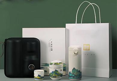 商务礼品,会议礼品,定制礼品-金镶玉茶盘小套组布包款