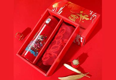 年会礼品,福利礼品,商务礼品,2021年牛年礼盒-保温杯+围巾